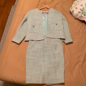 Sparkly Mint Green Tweed Chanel Crop Skirt Suite